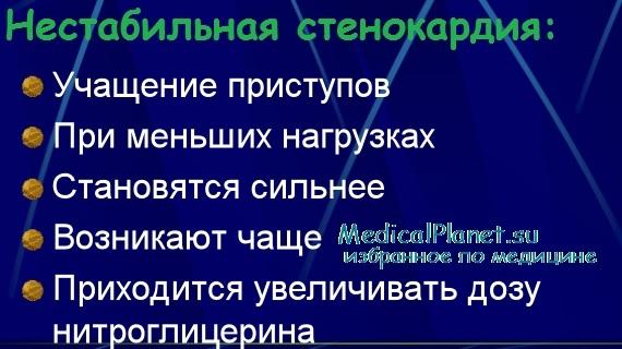 Клиника нестабильной стенокардии