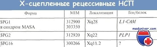 Х-сцепленные рецессивные наследственные спастические параплегии (НСП)
